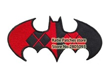 Batman Logo Embroidered Iron on Patch, DC Bad Girl Harley Quinn Theme Fabric Badge, Children DIY Clothing Accessories