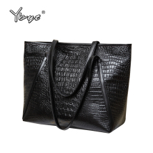 YBYT brand 2017 new fashion casual glossy alligator totes large capacity ladies simple shopping handbag PU leather shoulder bags(China)