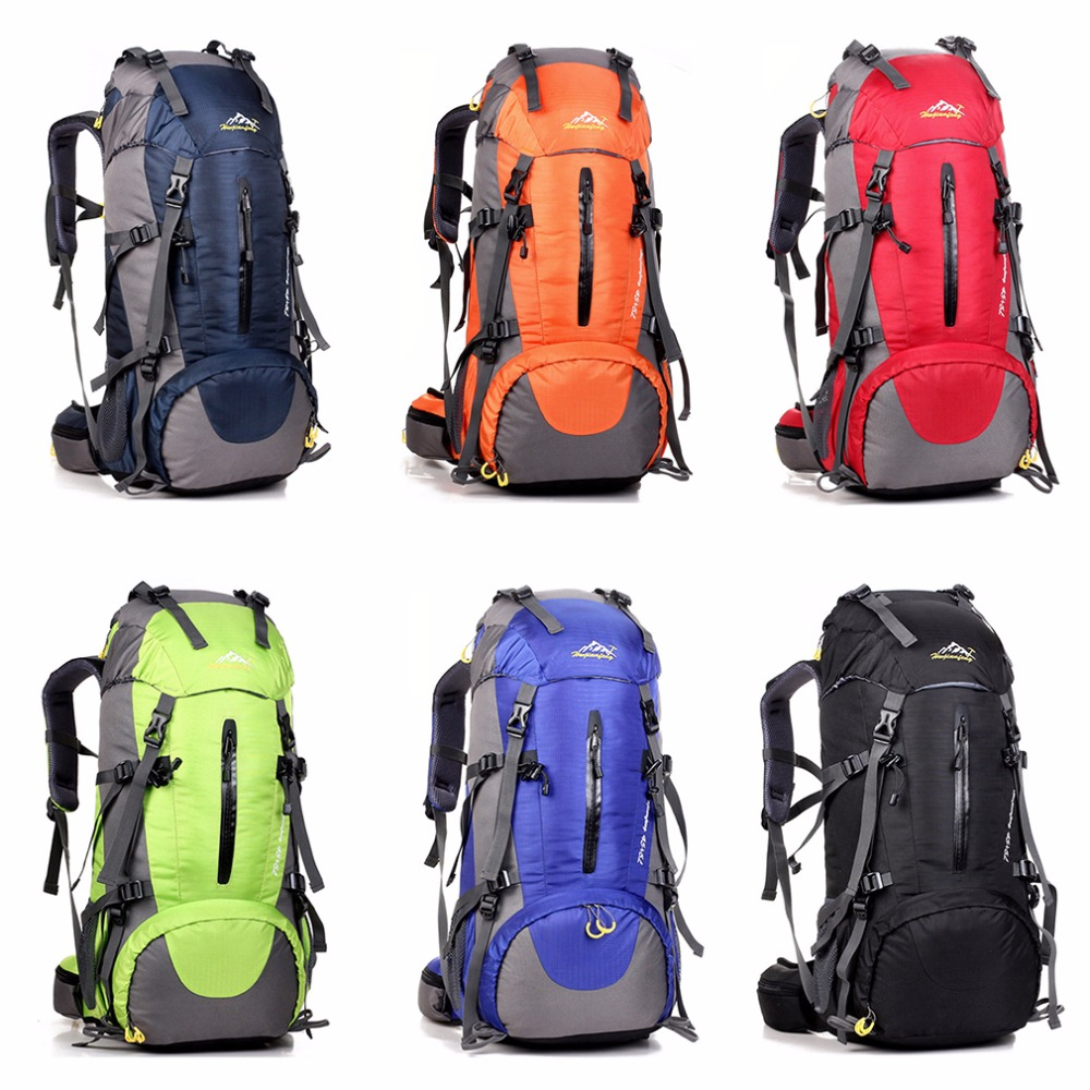 Waterproof Travel Hiking Backpacks 50L Sports Bag For Women Men Outdoor Camping Climbing Bag Molle Mountaineering Rucksack<br>