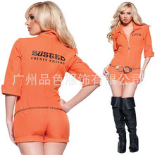 Halloween Women's Orange Scrub Set Prisoner Costume Game Stage Bar Convict Prison Guard Bailer Adult Cosplay Costumes Suit Dress
