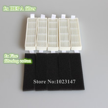 5x Ecovacs HEPA Filter and 5x Fine filtration Cotton Replacement for D36A TEK TCR-S TCR-S2 TCR660 M1(China)