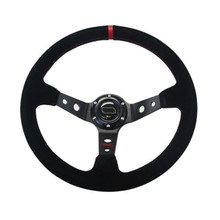 14 Inch Deep Dish Suede Leather Sport Racing Steering Wheel With Horn Button Aluminum Frame Steering Wheel Cover For ford(China)