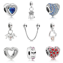 New Silver Plated Bead Charm European 빈 족 Love Heart 펜 던 트 Beads Fit Women Pandora Bracelet & Bangle DIY Jewelry(China)