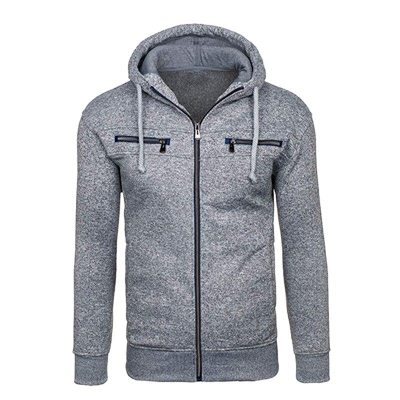 Men Fashion Hip Hop Pocket Zip Up Hooded Sweatshirts Casual Solid Long Sleeve Knitted Sport Coat Outwear Et Tops