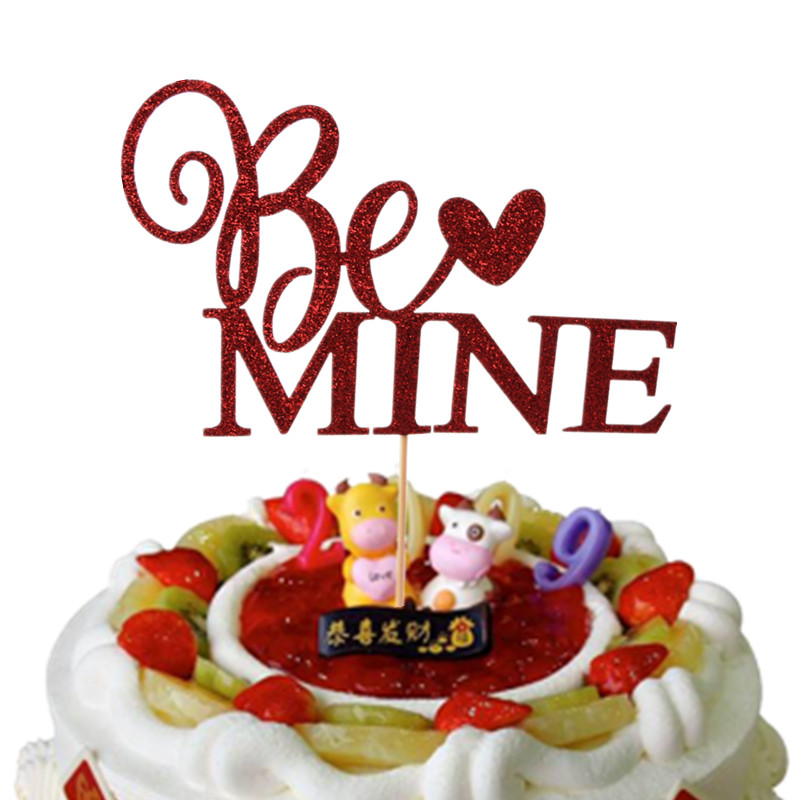 Be Mine Cupcake Topper Red Cake Flags Paper Straw For Wedding Birthday Party Cake Baking Decor Supplies Xmas DIY New Year