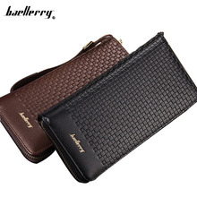 New Arrival Leisure Long Plaid Cell Phone Purses Men Multifunction Hand Bag Clutch PU Leather Wallet Large Capacity Money Pocket
