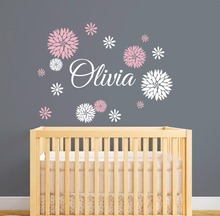 Personalized Name Wall Decal With Dahlia Flowers, Custom Girls Name Wall Decal, Flowers Decal Baby Nursery Wall Decor Vinyl A564