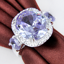 Free Shipping  Best Sales High Quality  Purple Created Zircon Rings For Women