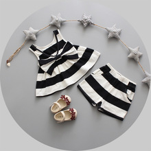 Children's clothing girls summer suit 2017 new Korean children's vest two-piece 1-2years old baby clothes girl dress(China)