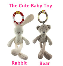 22CM*15CM Baby Rattles Cute Rabbit Bear Wholesale Infant Kids Hanging Ring Hand Bed Stroller Soft Dolls Educational Toys Teether