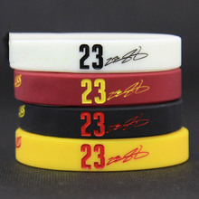 Lebron James Fans Silicone Bracelets Basketball Sport Wrist Strap.White one Luminous
