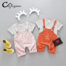 CUYIZAN 2017 Summer Baby Girls Clothing Sets suits Children t-shirt+romper 2pcs set Sport Suits Baby Girls stars Tracksuit Sets