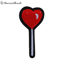 DoreenBeads 5 PCs Polyester Patches Appliques DIY Scrapbooking Craft Lollipop Red Heart Pattern Appareal Sewing Decoration