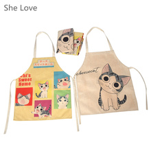 She Love Child Adult Cartoon Anime Cat Apron Funny Novelty Restaurant Kitchen Cooking Kawaii Apron(China)