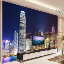 beibehang custom wall paper 3d mural decor photo backdrop Photographic large mural Hong Kong night hotel restaurant wal painting