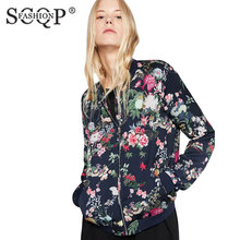 SCQP FASHION Black Cotton Print Autumn Jacket Women O-Neck Floral Casual Women Coats Zippers Long Sleeve Pockets Jaket Women(China)