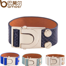 BAMOER  Gold Color Top Layer Leather Bracelet With Crystal Fashion Bijouterie for Women PI0323