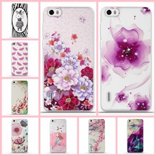 Phone Cases For Huawei Honor 6 Case Silicon Back Case Cover for Fundas Huawei Honor 6 Mobile Phone Bags Cases 3D Painting Flower(China)
