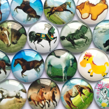 ZEROUP 12mm 20mm Round Glass Cabochon Horse Pictures Mixed Pattern Fit Cameo Base Setting for Jewelry Embellishment(China)