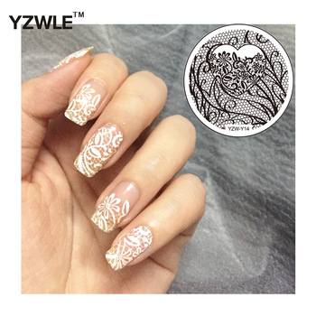 YZWLE 1Pc Round Flower Lace Design Nail Art Image Stamp Stamping Plates Manicure Template DIY Polish Stencil Nail Tools