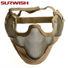 SURWISH Airsoft Mask CS Game Protective Mask Generic Tactical Guard Mesh Metal Half Face Mask Party Halloween Props- Mud Color