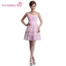 fashion knee length light pink dress big size for girls 2017 strapless beautiful homecoming dresses for teens women size 4 H1549(China)
