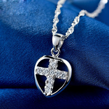 LIAMTING 100% 925 Sterling Silver Heart Pendants Necklace Of Cross In The Heart Shape Women Jewelry Pendant Accessories VA095