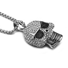 HIP Punk Crystal Skull Necklaces 60CM Titanium Stainless Steel Chain & Pendants for Men Jewelry(China)