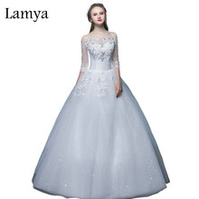 Lamya Cheap Plus Size Sexy Wedding Dress With Lace Half Sleeve 2017 Boat Neck Bride Gown Wed Dresses Lace Up vestidos de noiva