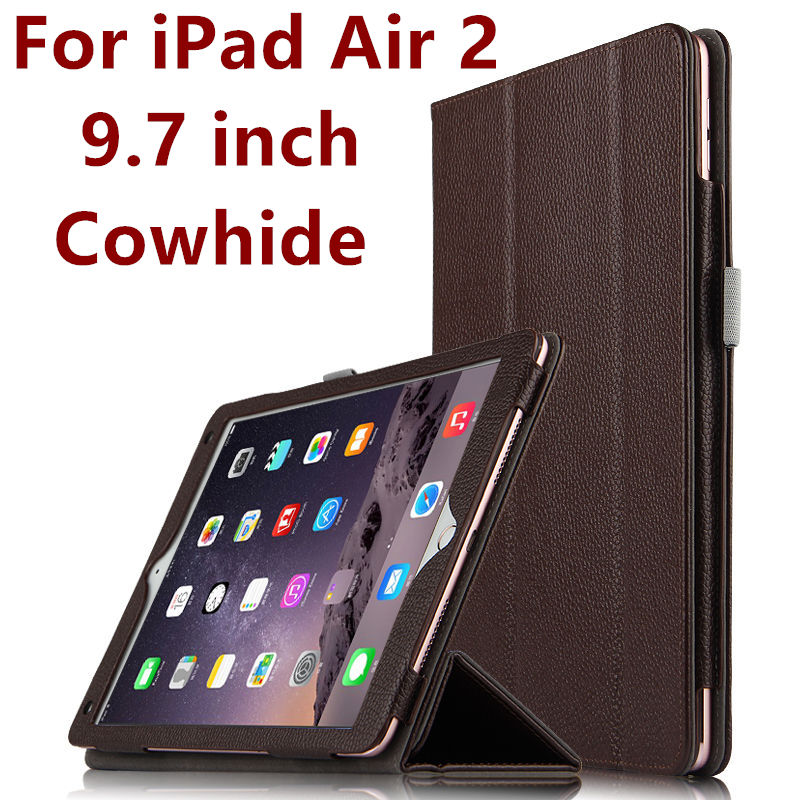 Case Cowhide For iPad Air 2 Genuine Protective Smart cover Leather Tablet For Apple iPad Air2 9.7 inch Protector Sleeve 6 Covers<br>