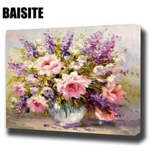 BAISITE DIY Framed Oil Painting By Numbers Flowers Pictures Canvas Painting For Living Room Wall Art Home Decor H541(China)