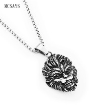 MCSAYS Stainless Steel Punk Necklace Sun Wukong Monkey Pendant Box Chain Mens Necklace Fashion Accessories Brithday Gifts 3GM(China)
