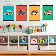 Modern Colorful Cartoon Cars Bus Nordic Boy Room Wooden Framed Canvas Painting Home Decor Wall Art Print Pictures Posters Scroll(China)