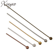 XINYAO 200pcs Gold Silver Color Ball Head Pins Length 20 25 30 40 50 mm Head Pins For Jewelry Making Findings Dia 0.5mm F352