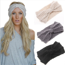 1 PC Women Lady Crochet Bow Knot Turban Knitted Head Wrap Hairband Winter Ear Warmer Headband Hair Band Accessories