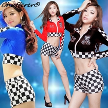 Sexy Car Model Aerobics Uniform Role Playing Women Club Pole Dancing Costumes Lingerie Stage Sports Ball Cheerleading Clothing(China)