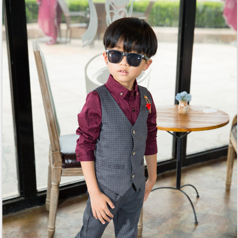 Boys Blazer Children Suits Gentleman Clothes Kids Costume Boy Vest + Shirt + Pants 3Pcs Flowers Tops Farmal Sets Clothing <br>