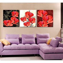 3pcs/set 50*150cm DIY Frameless Pictures Paint By Numbers Digital Oil Painting Red Fresh Flowers On Canvas HD0313