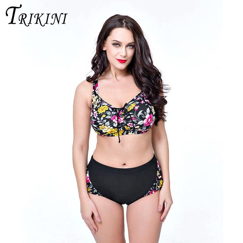 TRIKINI 2017 New Arrival Plus Size Bikini Set Padded Bra Beachwear Strappy Swimsuits Vintage Tankini Set Women Sexy Biquini<br><br>Aliexpress