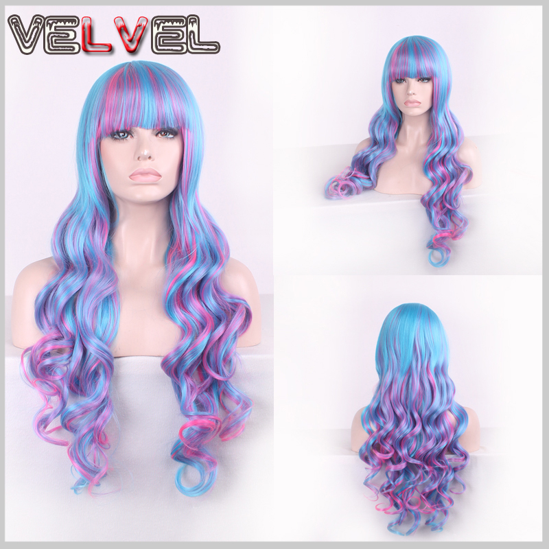 Fashion Lolita Girl Rose Red Blue Mixed Lady Synthetic Wig Women Short Curly Fluffy Two Tone Hair Wigs Cosplay Wigs+Free wig cap<br><br>Aliexpress