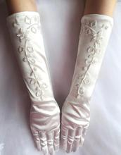 5.99$ Free Shipping Vintage Long White Ivory Wedding Gloves Bridal Satin Bridal Gloves With Beading Wedding Accessories