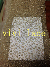 LMC017 light gold white pearl stone french embroidery tulle mesh lace for wedding/evening dress/party,ship all over the world