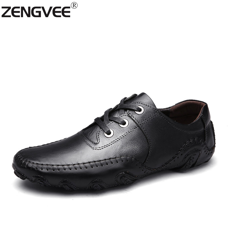 2017 New Arrival Crocodile Style Fashion Flats for Men Spring Fashion Breathable Men Flats Shoes Business Genuine Leather Mens<br>