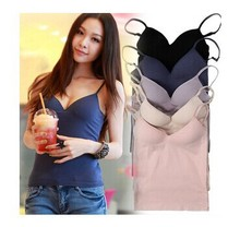 Blue khaki Summer women's wireless push up bra vest design basic shirt modal underwear spaghetti strap top worn classic bra 3501(China)