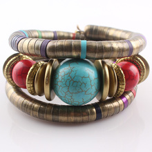 Antique Bronze Snake Chain Bracelet Jewelry Nature Stone Inlay Roundness Bead Flexible Bracelet Bangles B377