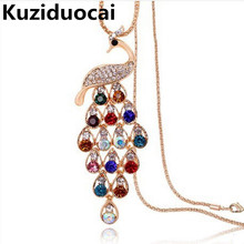 2017 New !! Fashion Fine Jewelry Super Dazzling Gold Color Rhinestone Colorful Peacock Long Necklace & Pendants For Women N-114