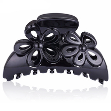 Korean Womens Black Plastic Metal Hair Barrettes Claws Accessories Flowers Acrylic Cheap Hair Crab Womens Thick Long Hair FZ30