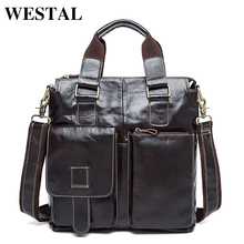 WESTAL Genuine Leather Men Bag men's Briefcase Fashion leather Men's Messenger Bags Tote Shoulder crossbody bags Handbags 8259(China)
