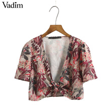 Vadim women sexy swan print floral crop tops short sleeve bow tie pleated short blouses ladies casual shirts blusas DT1024