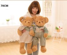 new arrival large 70cm lovers couples bears plush toy beautiful cloth teddy bear soft doll Valentine's Day ,proposal gift b2910(China)